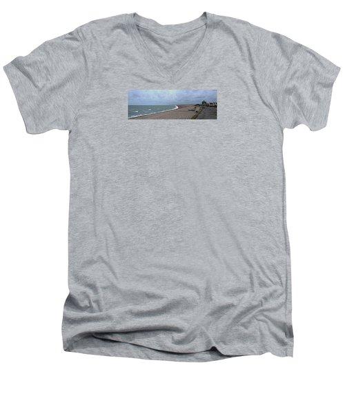 Chesil Beach November 2013 Men's V-Neck T-Shirt by Anne Kotan