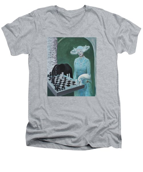 Chess - The Queen Waits Men's V-Neck T-Shirt