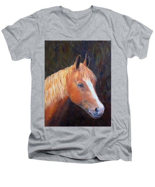 Men's V-Neck T-Shirt featuring the painting Chestnut by Elizabeth Lock