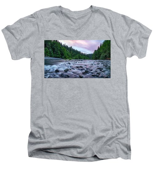 Men's V-Neck T-Shirt featuring the photograph Chetco River Sunset 2 by Leland D Howard