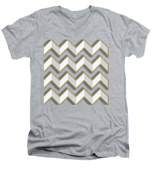 Men's V-Neck T-Shirt featuring the digital art Chevrons - Gold Edges by Chuck Staley