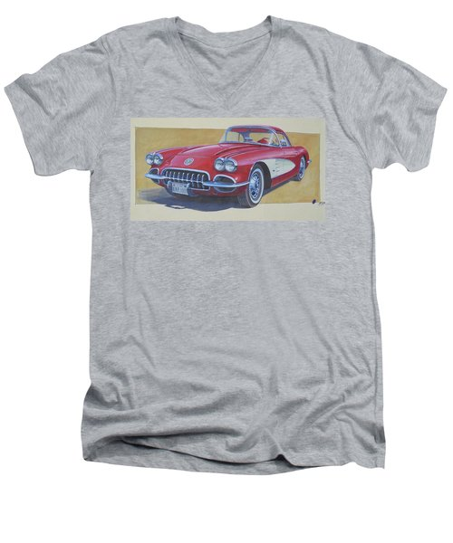Men's V-Neck T-Shirt featuring the drawing Chevy by Mike Jeffries