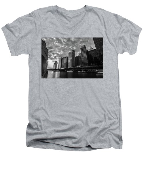 Chi Sunrise Black And White Men's V-Neck T-Shirt