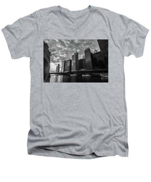 Chi Sunrise Black And White Men's V-Neck T-Shirt