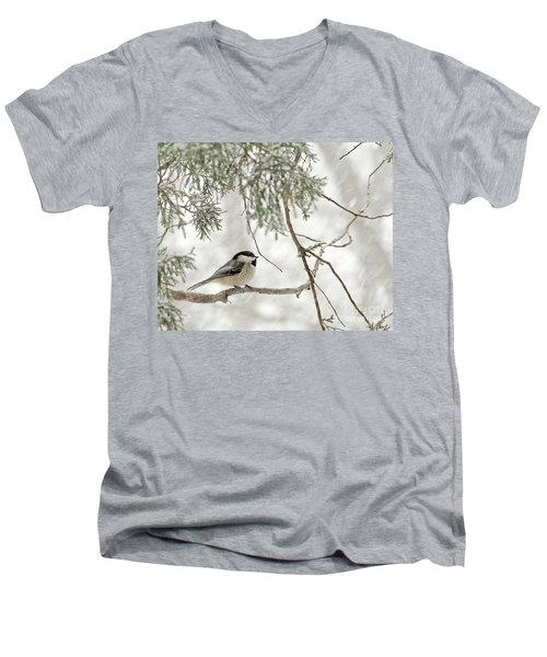 Chicadee In A Snow Storm  Men's V-Neck T-Shirt