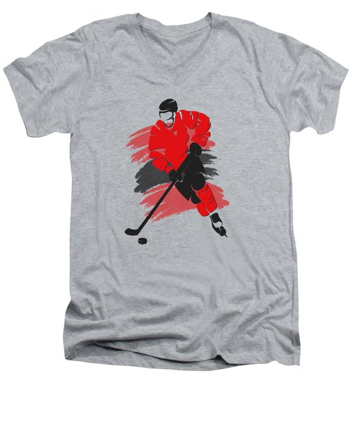Chicago Blackhawks Player Shirt Men's V-Neck T-Shirt by Joe Hamilton
