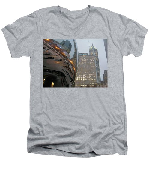 Men's V-Neck T-Shirt featuring the photograph Chicago Cloud Gate. Reflections by Ausra Huntington nee Paulauskaite