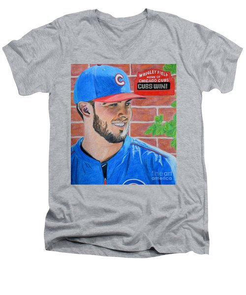 Men's V-Neck T-Shirt featuring the drawing Chicago Cubs Kris Bryant Portrait by Melissa Goodrich