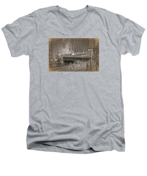 Chicago Dusable Bridge Street Scene Men's V-Neck T-Shirt
