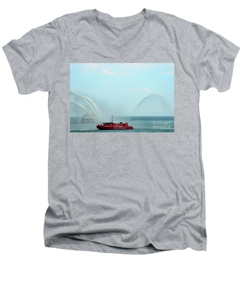 Chicago Fire Department Fireboat Men's V-Neck T-Shirt