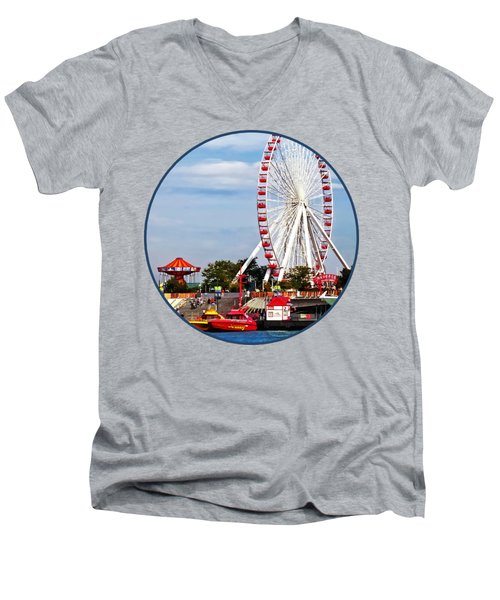 Chicago Il - Ferris Wheel At Navy Pier Men's V-Neck T-Shirt