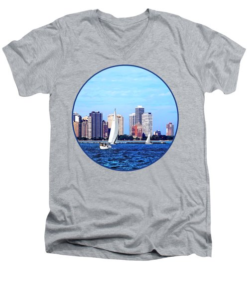 Chicago Il - Two Sailboats Against Chicago Skyline Men's V-Neck T-Shirt by Susan Savad