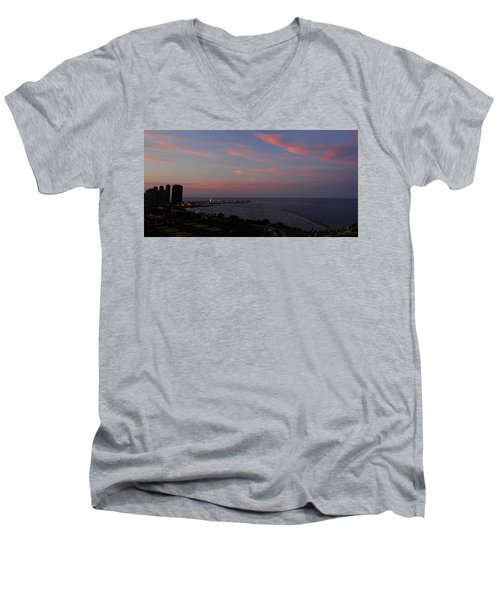 Chicago Lakefront At Sunset Men's V-Neck T-Shirt by Michael Bessler