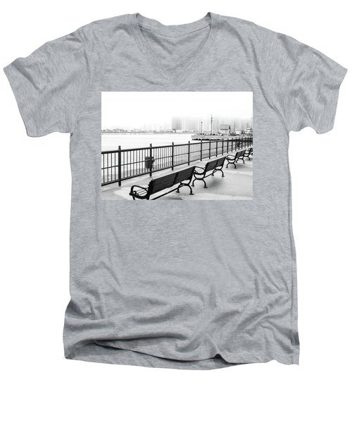 Men's V-Neck T-Shirt featuring the photograph Chicago Navy Pier by Dawn Romine