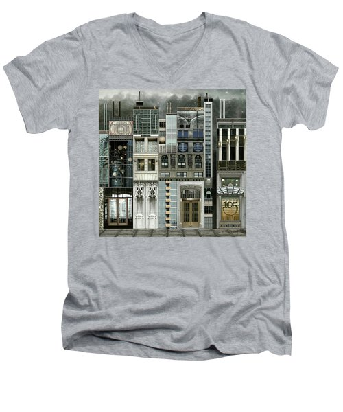 Chicago Reconstruction 1 Men's V-Neck T-Shirt by Joan Ladendorf