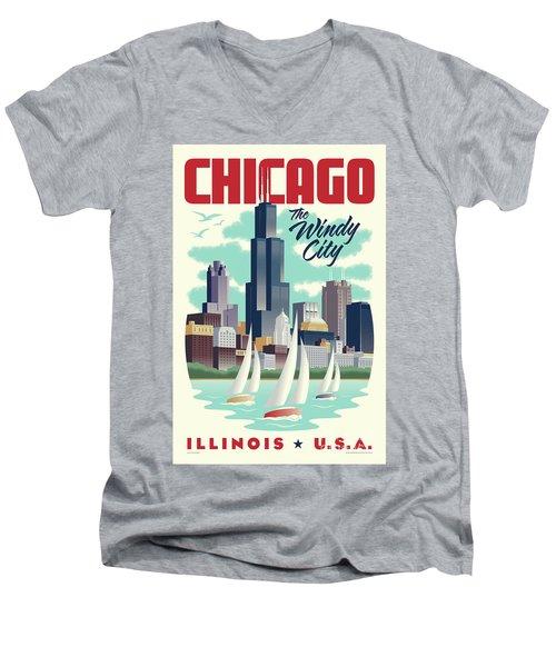 Chicago Retro Travel Poster Men's V-Neck T-Shirt by Jim Zahniser