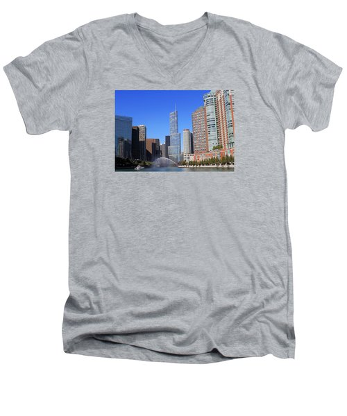 Chicago River Men's V-Neck T-Shirt by Milena Ilieva