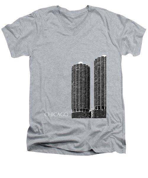Chicago Skyline Marina Towers - Teal Men's V-Neck T-Shirt
