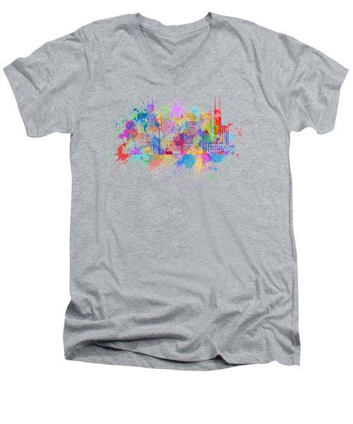 Chicago Skyline Paint Splatter Illustration Men's V-Neck T-Shirt
