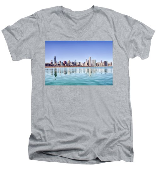 Chicago Skyline Reflecting In Lake Michigan Men's V-Neck T-Shirt by Peter Ciro