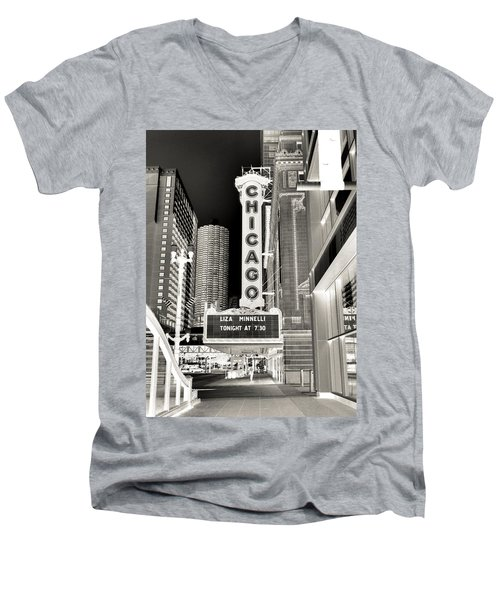 Chicago Theater - 2 Men's V-Neck T-Shirt by Ely Arsha