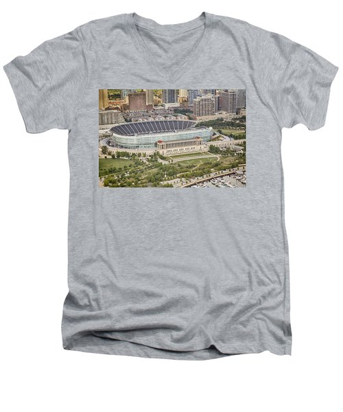 Men's V-Neck T-Shirt featuring the photograph Chicago's Soldier Field Aerial by Adam Romanowicz