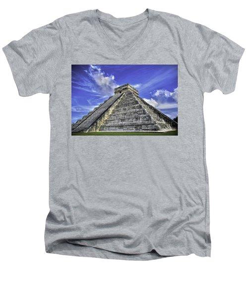 Men's V-Neck T-Shirt featuring the photograph Chichen Itza, El Castillo Pyramid by Jason Moynihan