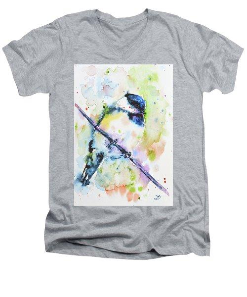 Men's V-Neck T-Shirt featuring the painting Chick-a-dee-dee-dee by Zaira Dzhaubaeva