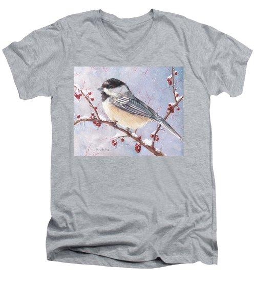 Chickadee Dee Dee Men's V-Neck T-Shirt by Shana Rowe Jackson
