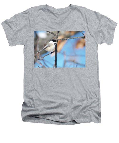 Chickadee Men's V-Neck T-Shirt by Michael Peychich