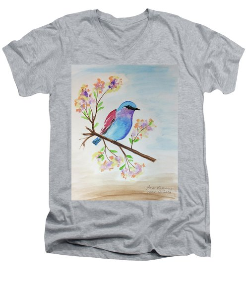 Chickadee On A Branch Men's V-Neck T-Shirt