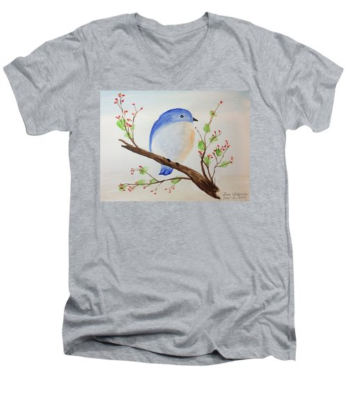 Chickadee On A Branch With Leaves Men's V-Neck T-Shirt
