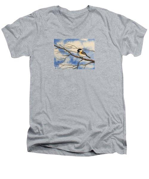 Chickadee On Branch Men's V-Neck T-Shirt