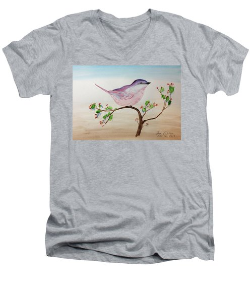 Chickadee Standing On A Branch Looking Men's V-Neck T-Shirt