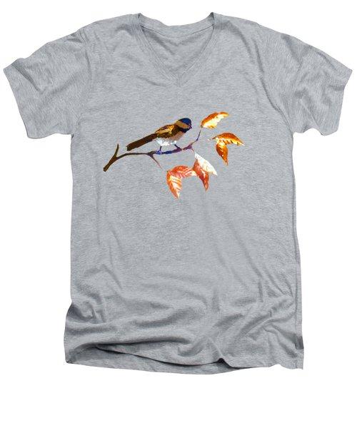 Chickadee Men's V-Neck T-Shirt by Troy Rider