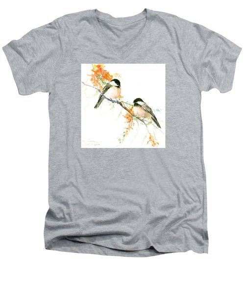 Chickadees And Orange Flowers Men's V-Neck T-Shirt by Suren Nersisyan
