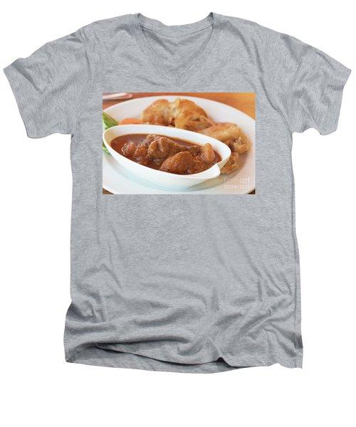 Men's V-Neck T-Shirt featuring the photograph Chicken Massaman Curry by Atiketta Sangasaeng