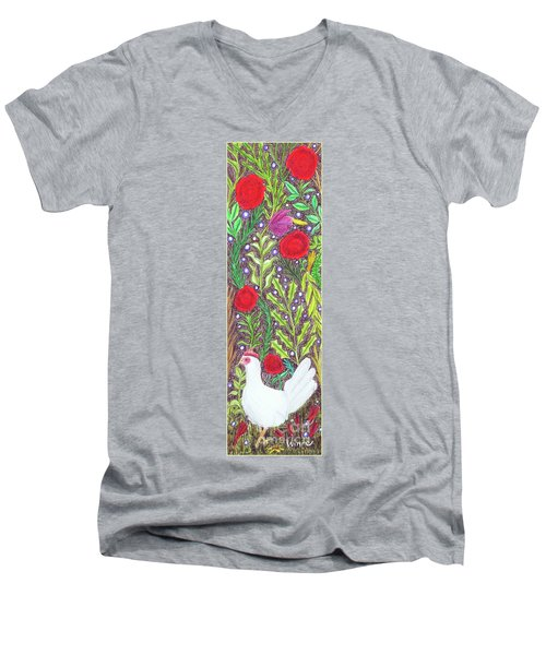 Chicken With An Attitude In Vegetation Men's V-Neck T-Shirt