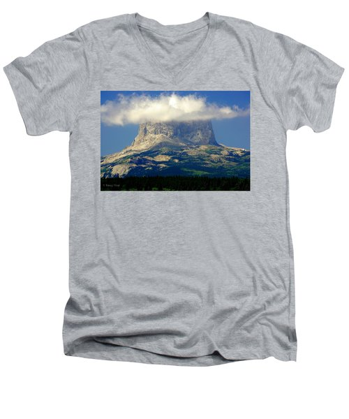 Chief Mountain, With Its Head In The Clouds Men's V-Neck T-Shirt
