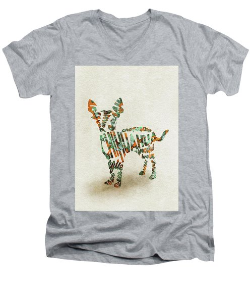 Men's V-Neck T-Shirt featuring the painting Chihuahua Watercolor Painting / Typographic Art by Ayse and Deniz