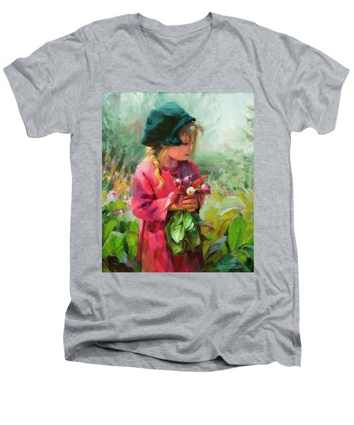 Men's V-Neck T-Shirt featuring the painting Child Of Eden by Steve Henderson