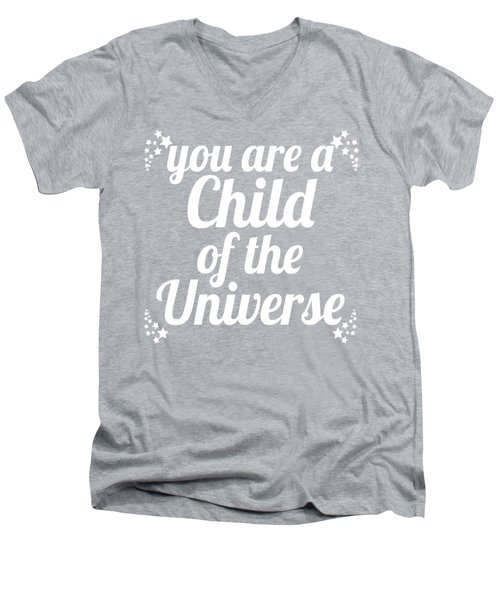 Men's V-Neck T-Shirt featuring the digital art Child Of The Universe Desiderata - Blue by Ginny Gaura