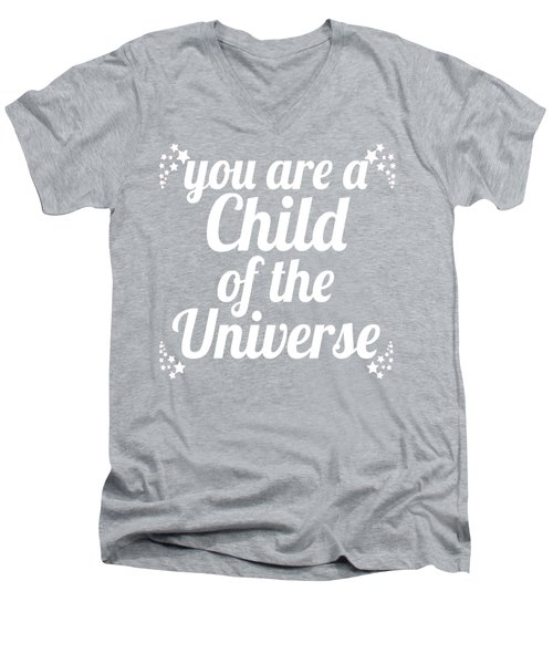 Men's V-Neck T-Shirt featuring the digital art Child Of The Universe Desiderata - Pink by Ginny Gaura