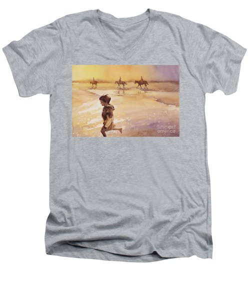 Men's V-Neck T-Shirt featuring the painting Child On Beach- Ocracoke Island, Nc by Ryan Fox