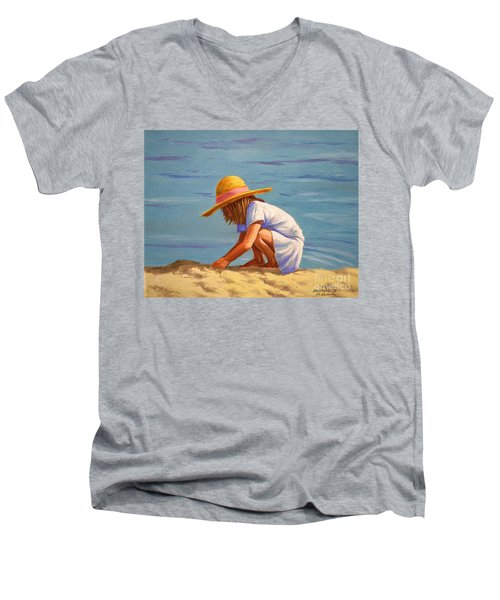Men's V-Neck T-Shirt featuring the painting Child Playing In The Sand by Christopher Shellhammer