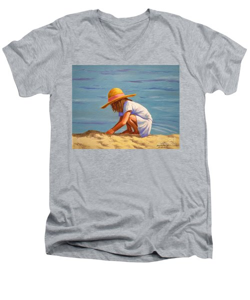 Child Playing In The Sand Men's V-Neck T-Shirt
