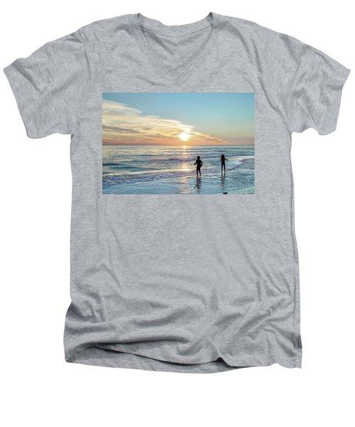 Children At Play On A Florida Beach  Men's V-Neck T-Shirt