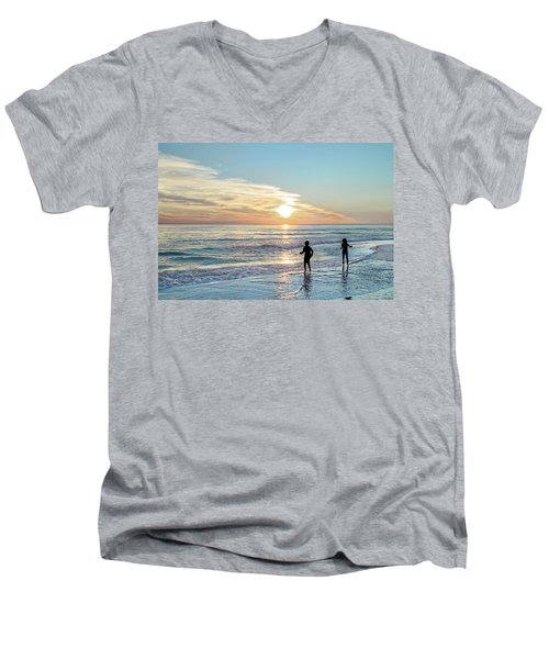 Children At Play On A Florida Beach  Men's V-Neck T-Shirt
