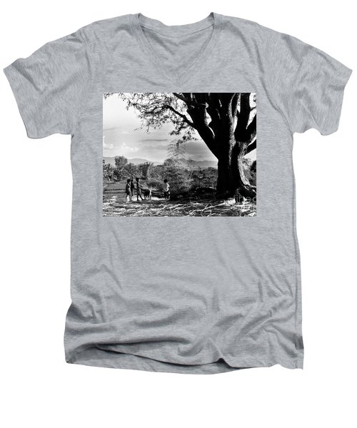 Children Of Central Highland Are Playing With A Dog Men's V-Neck T-Shirt