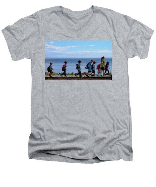 Children On Lake Walk Men's V-Neck T-Shirt